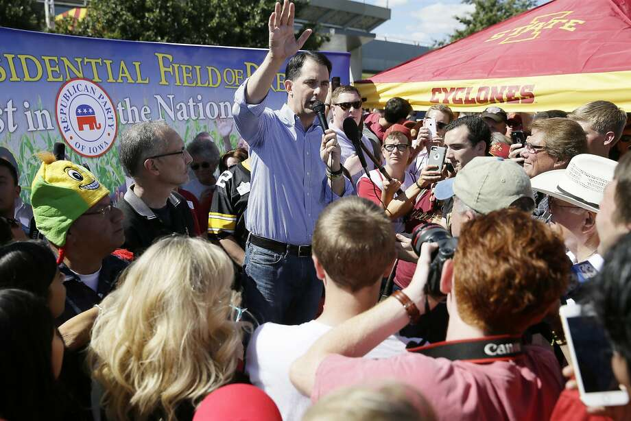 GOP candidate Scott Walker favors eliminating unions for employees of the federal government. Photo: Charlie Neibergall, Associated Press