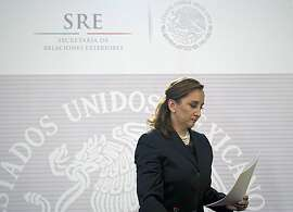 Mexico's Foreign Minister  Claudia Ruiz Massieu leaves after reading a statement in Mexico City on September 14, 2015.  Egyptian security forces have mistakenly killed 12 people including Mexican tourists while chasing jihadists in the country's vast Western Desert, drawing condemnation and calls for an investigation from Mexico. AFP PHOTO/ Yuri CORTEZYURI CORTEZ/AFP/Getty Images