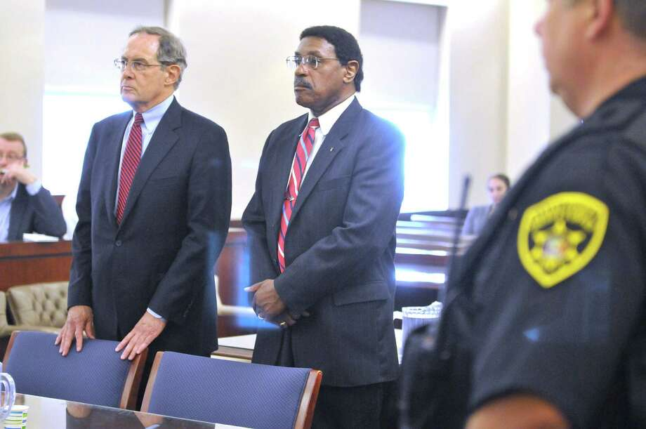 Former state Assemblyman William Scarborough, right, and his attorney E. Stewart Jones at Albany County Court for Scarborough's sentencing on Monday, Sept. 14, 2015, in Albany, N.Y. (Paul Buckowski / Times Union) Photo: PAUL BUCKOWSKI / 00033343A