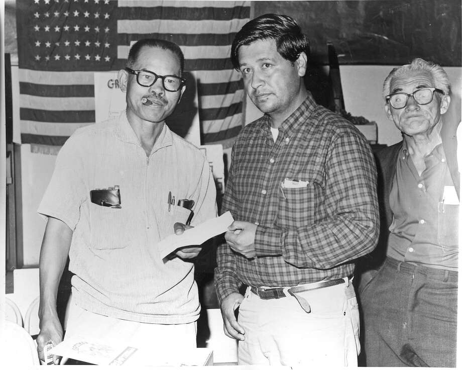 Larry Itliong of the AFL CIO and Cesar Chavez of the United Farm Workers during the Delano grape strike. Photo dated 11/9/1965 Photo: Handout