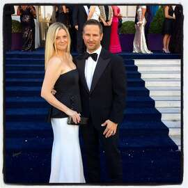 Restaurateur Anna Weinberg and husband, financier James Nicholas, at the 93rd SF Opera opening-night ball. Sept. 2015.