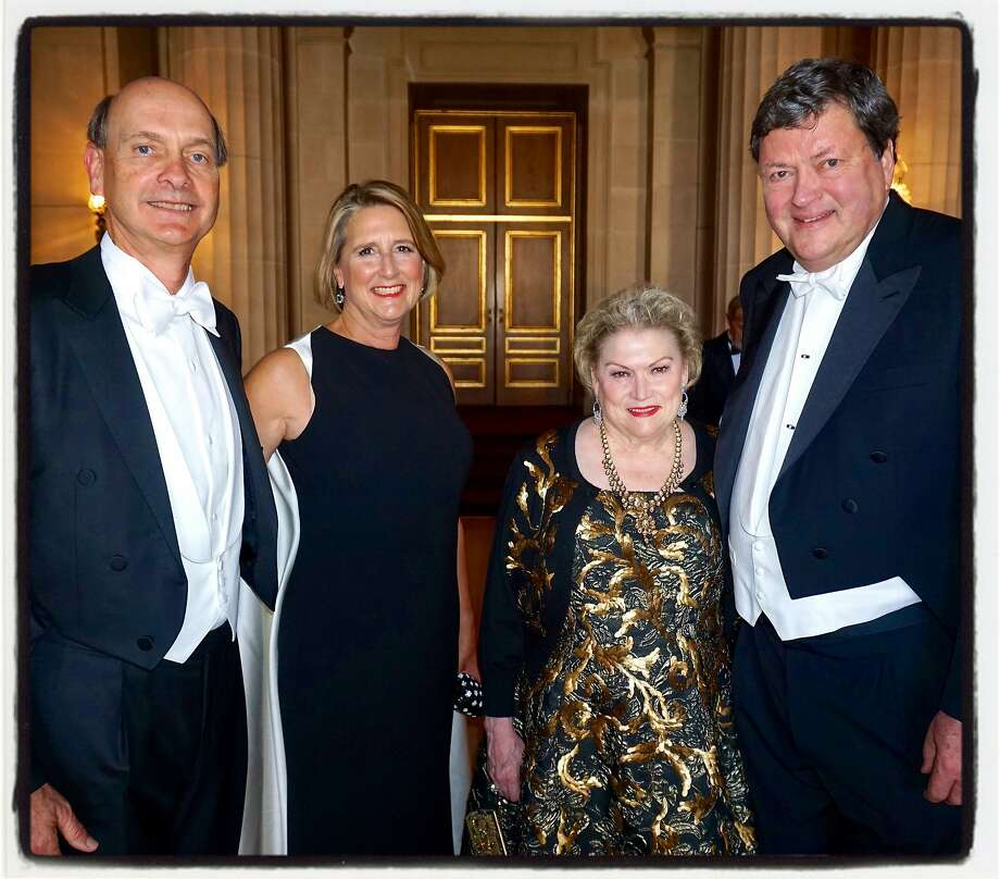 SF Opera Board President Keith Geeslin (left) with his wife, Prisca, Opera Ball honorary co-chair Cynthia Gunn and her husband, Opera Board chairman John Gunn. Sept 2015. Photo: Catherine Bigelow, Special To The Chronicle
