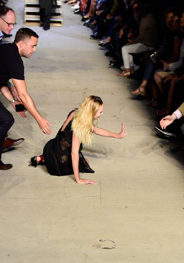 South African model Candice Swanepoel stumbles and falls on the runway during the Givenchy Spring 2016 fashion show during New York Fashion Week on Friday. Photo: Frazer Harrison, Getty Images