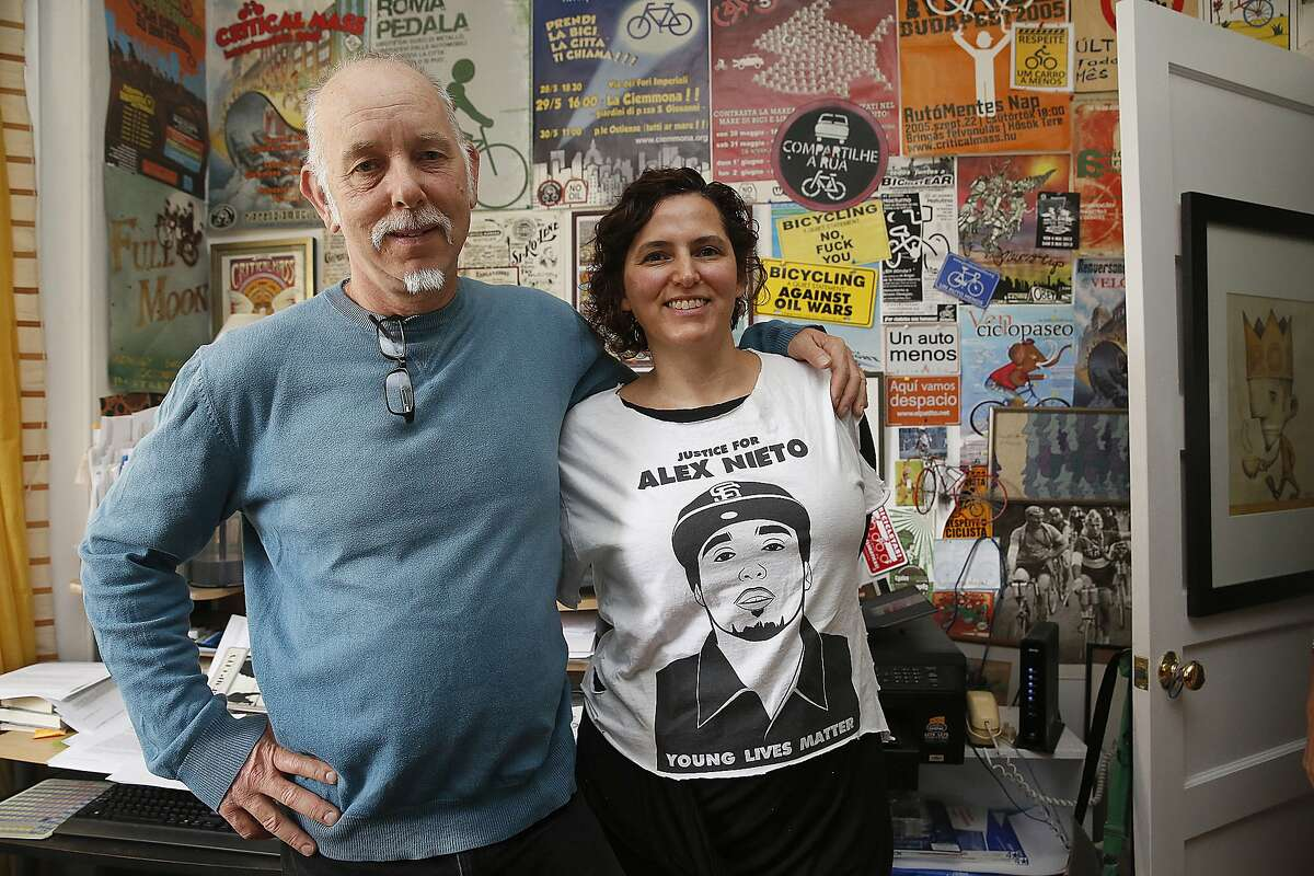 Activist historian Chris Carlsson (left) and writer and legal scholar Adriana Camarena (right) were nearly evicted until the city stepped in to provide a $2 million loan so a nonprofit could purchase the historic six flat unit in San Francisco, Calif., on Monday, September 14, 2015.