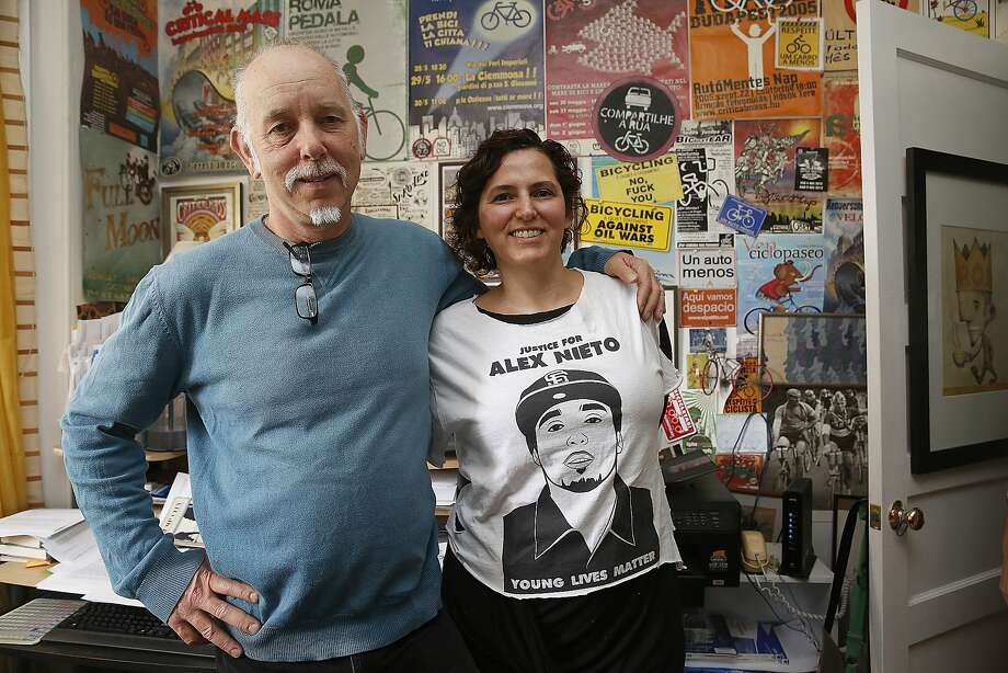 Activist historian Chris Carlsson (left) and writer and legal scholar Adriana Camarena (right) were nearly evicted until the city stepped in to provide a $2 million loan so a nonprofit could purchase the historic six flat unit in San Francisco, Calif., on Monday, September 14, 2015. Photo: Liz Hafalia, The Chronicle