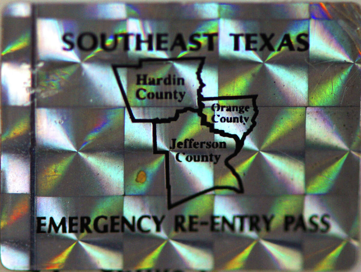 Special hologram stickers where given to hurricane recovery personnel. The stickers allowed access into Southeast Texas after Hurricane Rita passed and are no longer issued.