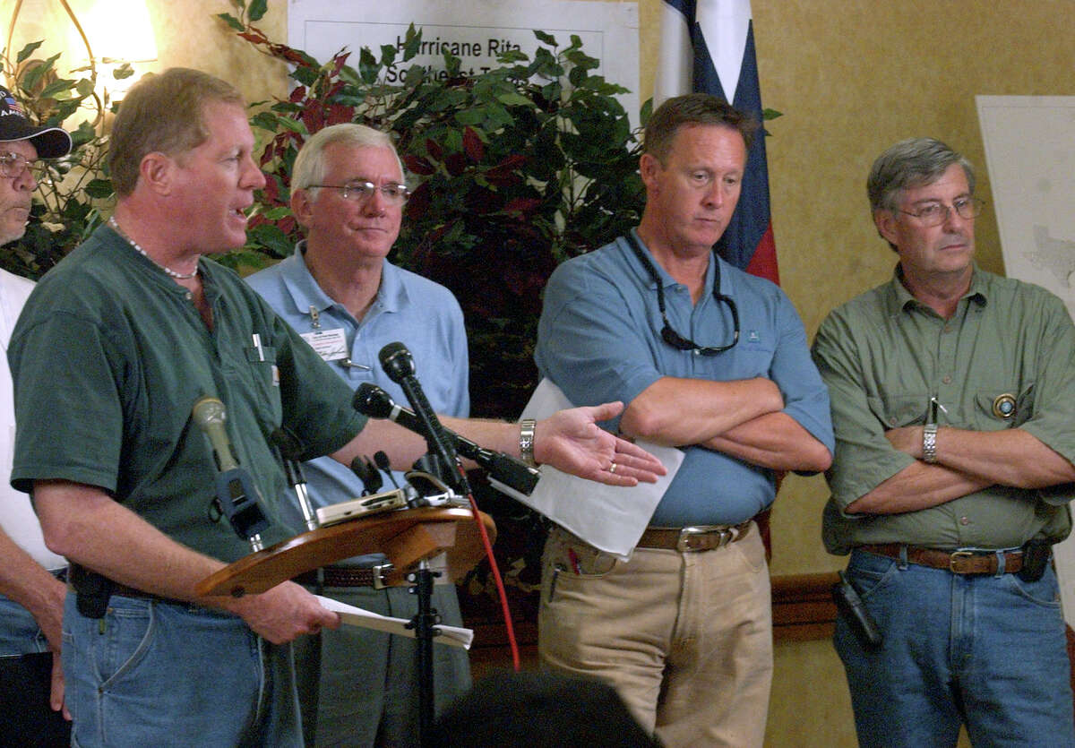 Jefferson County Judge Carl Griffith, left, spoke to members of the media during a press conference on Oct. 3, 2005, at the Emergency Operations Center at the MCM Elegante Hotel in Beaumont.