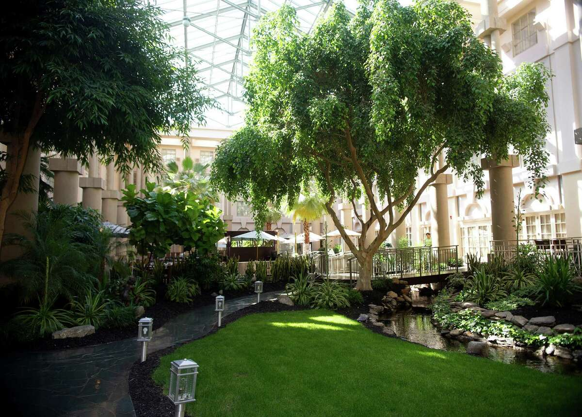 The atrium at the Hyatt Regency Hotel in Greenwich. Fairfield County hotels reported a 9.5 percent increase in room receipts for the 12-month period ending in June 2015.