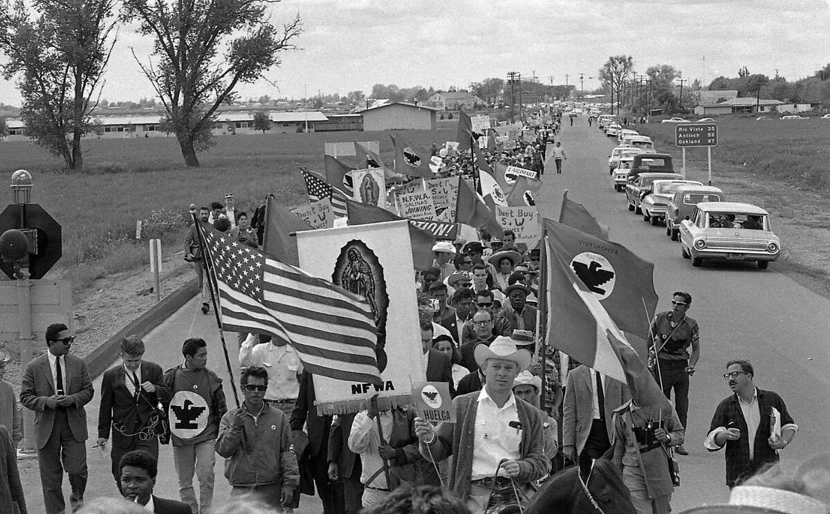 Striking farm workers march from Delano to the State Capitol in Sacramento. Photos shot 4/10/1966