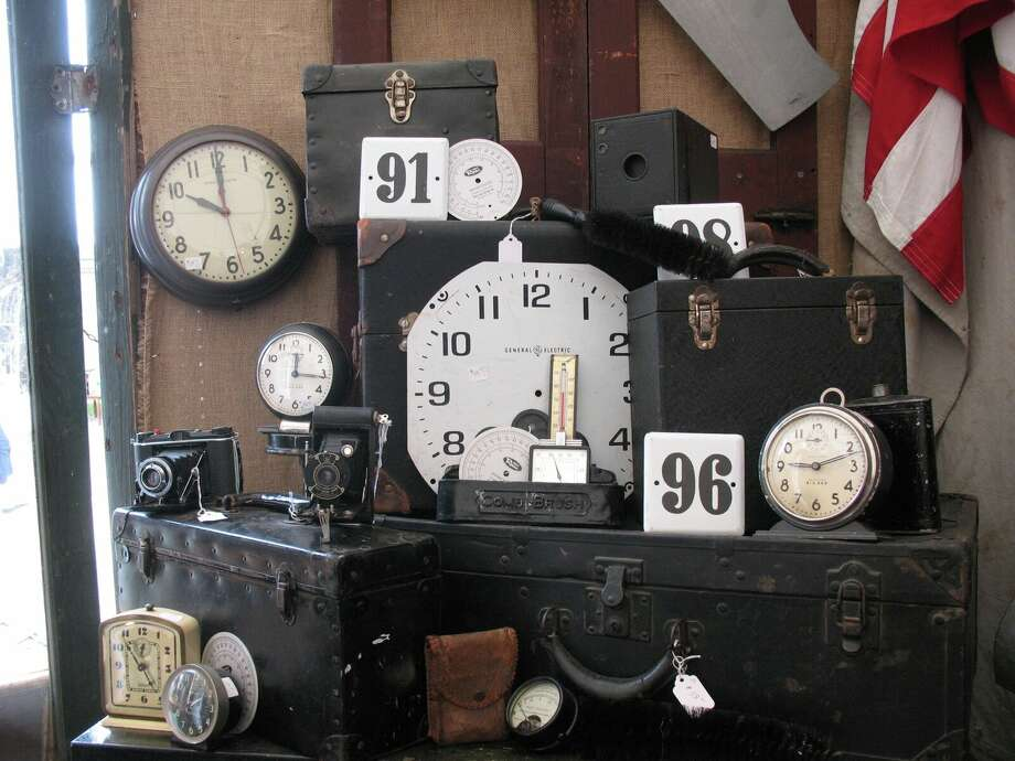 Collectors look for old clocks and cameras among many other objects from the past that can be found in Round Top during the annual antiques shows.