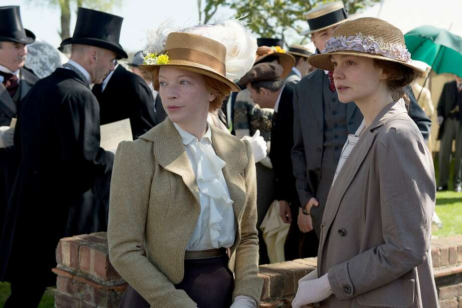 "Maud Watts (Carey Mulligan, right) rallies with another voting rights activist in the historical drama ""Suffragette."" Photo: Focus Features"
