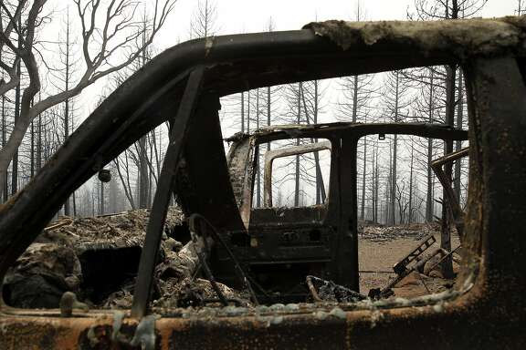 A burnt out vehicle from the Valley Fire in Cobb, Calif., on Monday, September 14, 2015.