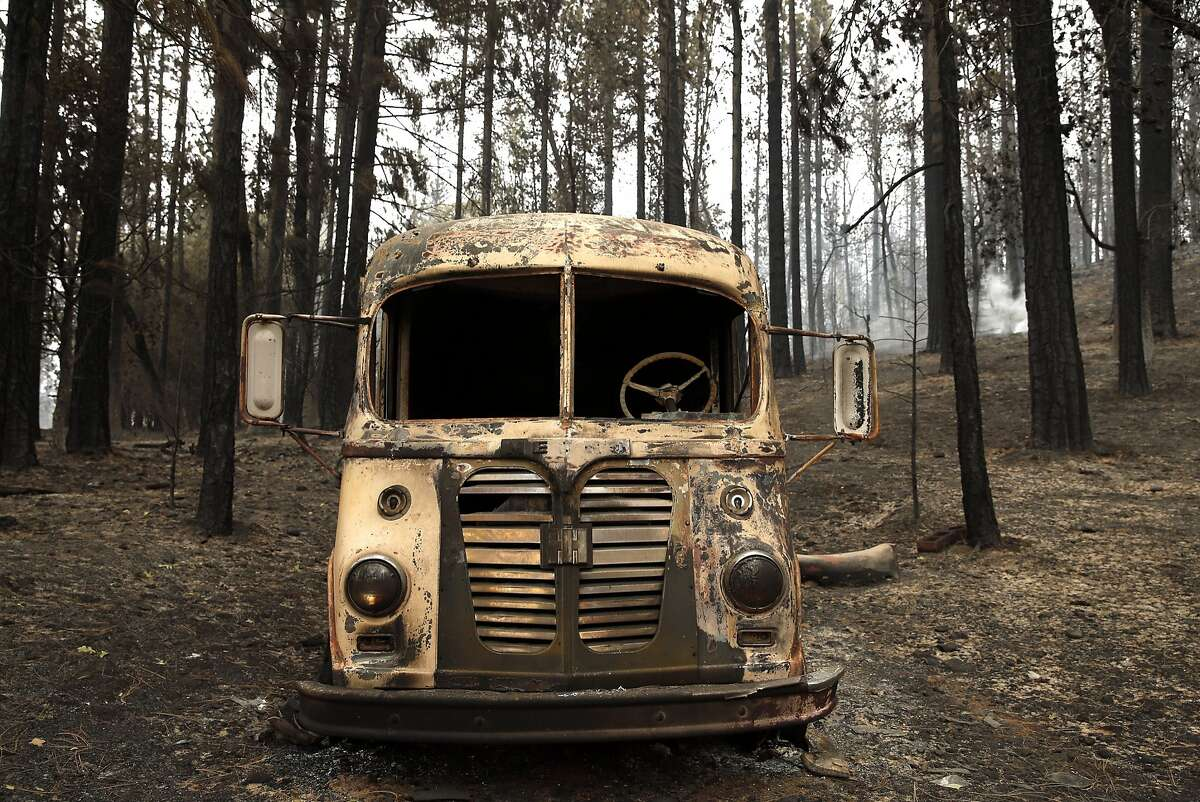 A burnt out truck from the Valley Fire in Cobb, Calif., on Monday, September 14, 2015.
