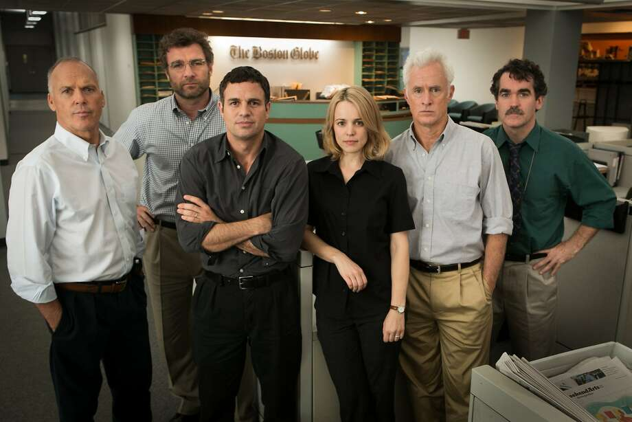 "The formidable cast of ""Spotlight"" includes, from left, Michael Keaton, Liev Schreiber, Mark Ruffalo, Rachel McAdams, John Slattery and Brian d'Arcy. The film is one of the opening night movies of the Mill Valley Film Festival.