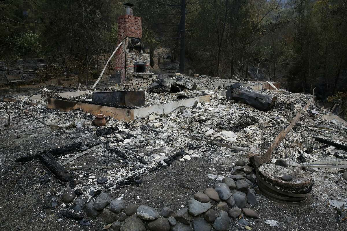The burned down remnants of the home of Barbara McWilliams, 72, who died Saturday at this location outside Middletown, California, on Monday, Sept. 14, 2015. McWilliams is the Valley Fire's only confirmed fatality.