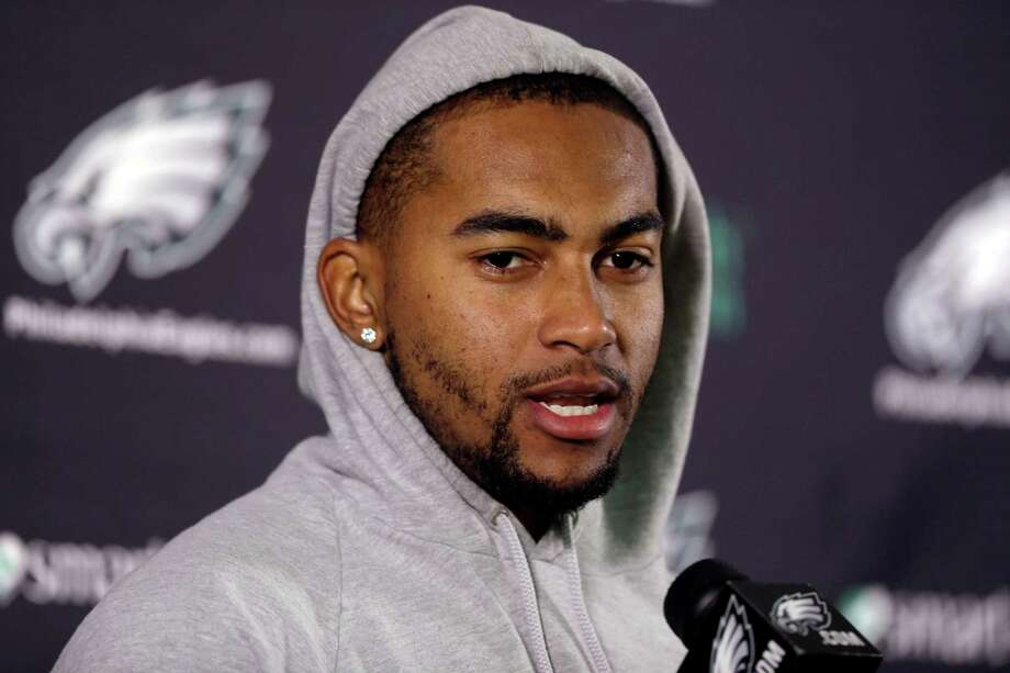 FILE - In this Dec. 31, 2013 file photo, Philadelphia Eagles wide receiver DeSean Jackson speaks during a news conference in Philadelphia. The Eagles have released Jackson. The team cut Jackson on Friday, March 28, 2014. He was coming off a career-best season in Philadelphia, leading the team with 82 catches for 1,332 yards and nine touchdowns. (AP Photo/Matt Rourke, File) ORG XMIT: NY152 Photo: Matt Rourke / AP