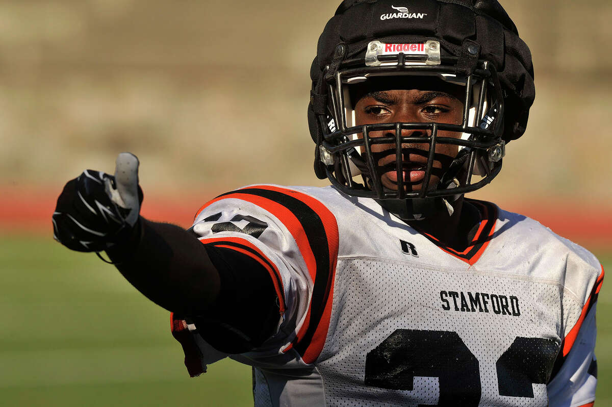 Captain Chris Desir plays wide receiver during Stamford High School football practice at Boyle Stadium in Stamford, Conn., on Monday, Sept. 14, 2015. Stamford plays Darien this Friday at 6:30 p.m. at home.