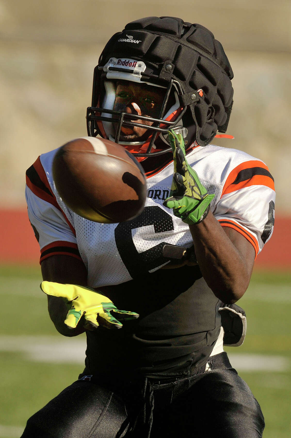 Wide receiver and captain Tyequan Bonaparte attempts a catch during Stamford High School football practice at Boyle Stadium in Stamford, Conn., on Monday, Sept. 14, 2015. Stamford plays Darien this Friday at 6:30 p.m. at home.