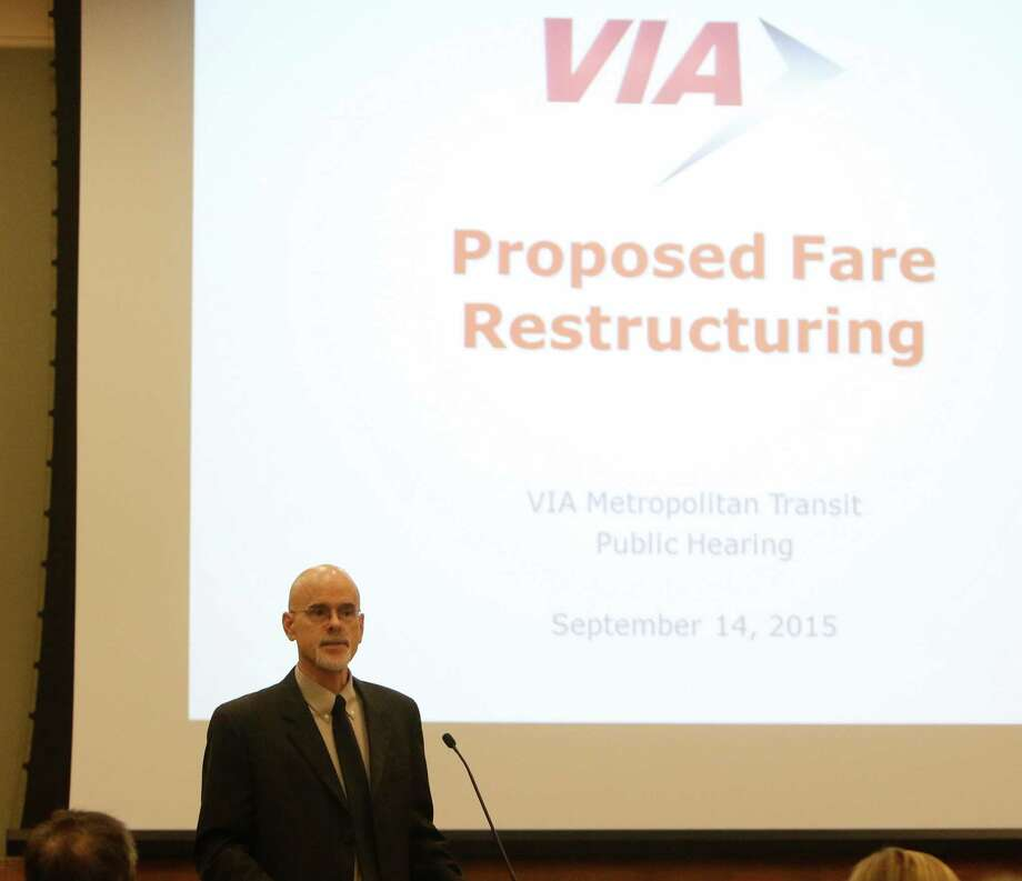 Steve Lange, vice president for fiscal management/CFO, gives a presentation on VIA Metropolitan Transit's proposed fare changes at a public meeting Monday night. Photo: Ron Cortes /For The San Antonio Express-News