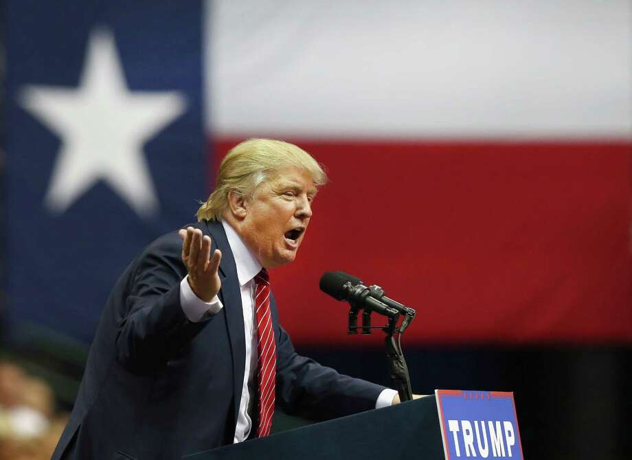 DALLAS, TX - SEPTEMBER 14:  Republican presidential candidate Donald Trump speaks during a campaign rally at the American Airlines Center on September 14, 2015 in Dallas, Texas. More than 20,000 tickets have been distributed for the event.  (Photo by Tom Pennington/Getty Images) Photo: Tom Pennington, Staff / Getty Images / 2015 Getty Images