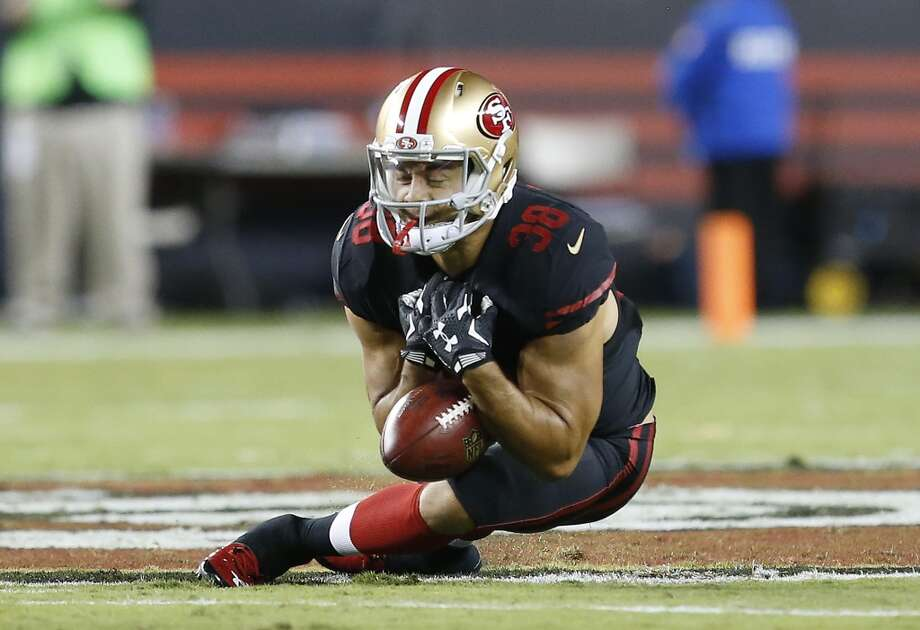 San Francisco 49ers' Jarryd Hayne (38) fumbles a punt that was recovered by the Minnesota Vikings during the first half of an NFL football game in Santa Clara, Calif., Monday, Sept. 14, 2015. (AP Photo/Tony Avelar) Photo: Associated Press