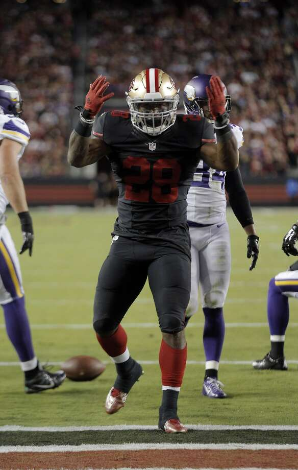 Carlos Hyde (28) reacts after a run that brought the 49ers to within yards of the end zone in the first quarter during the 49ers game against the Minnesota Vikings at Levi's Stadium in Santa Clara, Calif., on Monday, September 14, 2015. Photo: Carlos Avila Gonzalez, The Chronicle