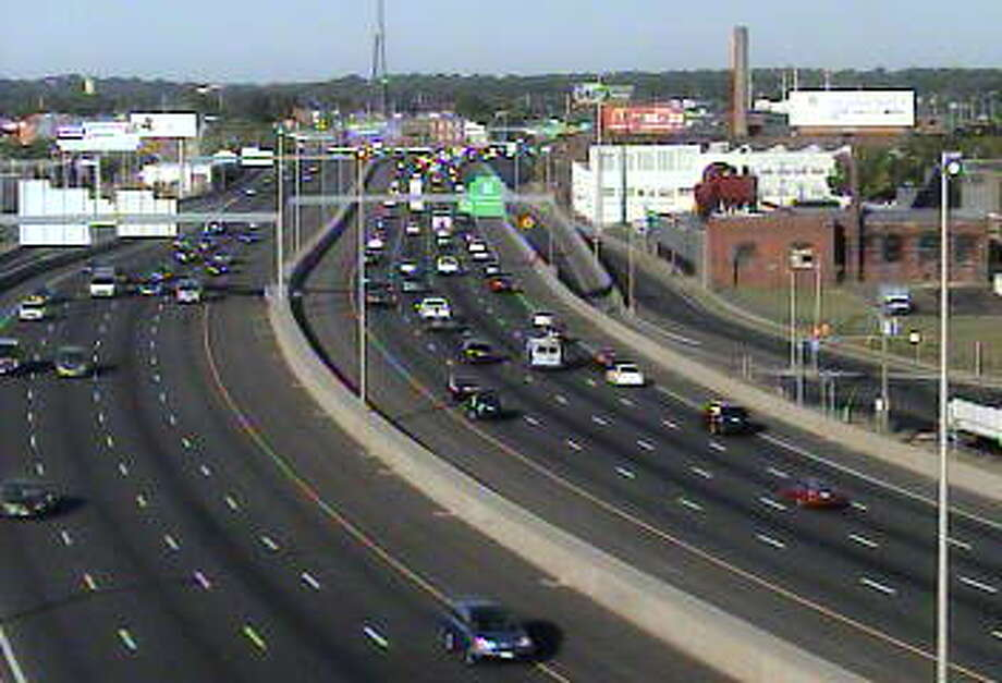 Traffic on I-95 in Bridgeport, 8:05 a.m. Tuesday, Sept. 15 Photo: Via State DOT Traffic Cameras