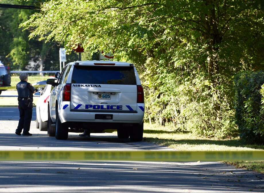 Highland Park Road remains closed at Union Street Tuesday as police continue to investigate the death of a person found inside the home on Monday. (Skip Dickstein / Times Union)
