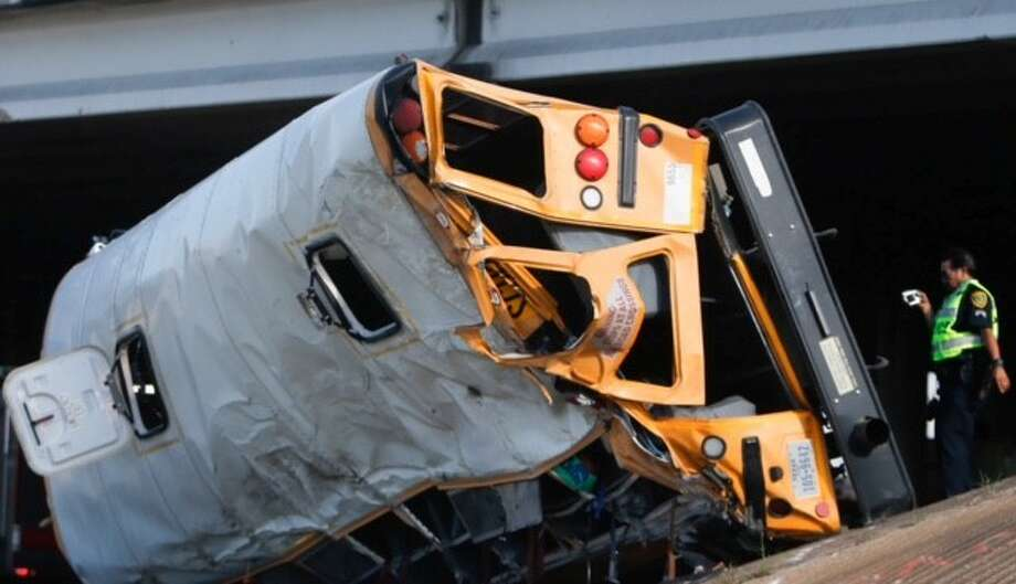 Two students died in September when a school bus veered from the 610 Loop in southeast Houston.  Photo: Cody Duty/Houston Chronicle