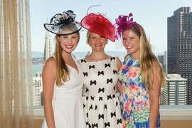 Courtney Costello, Laura Davis and Eve Denton at the Spinsters of San Francisco New Member Tea on August 30, 2015.