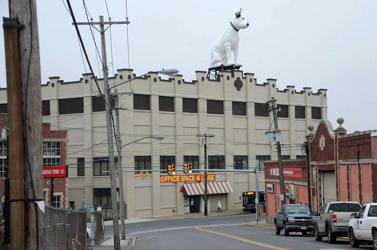 Arnoff Moving and Storage on Broadway in Albany, N.Y. The building is known for its 28 ft fiberglass RCA dog known as Nipper. (Lori Van Buren / Times Union)
