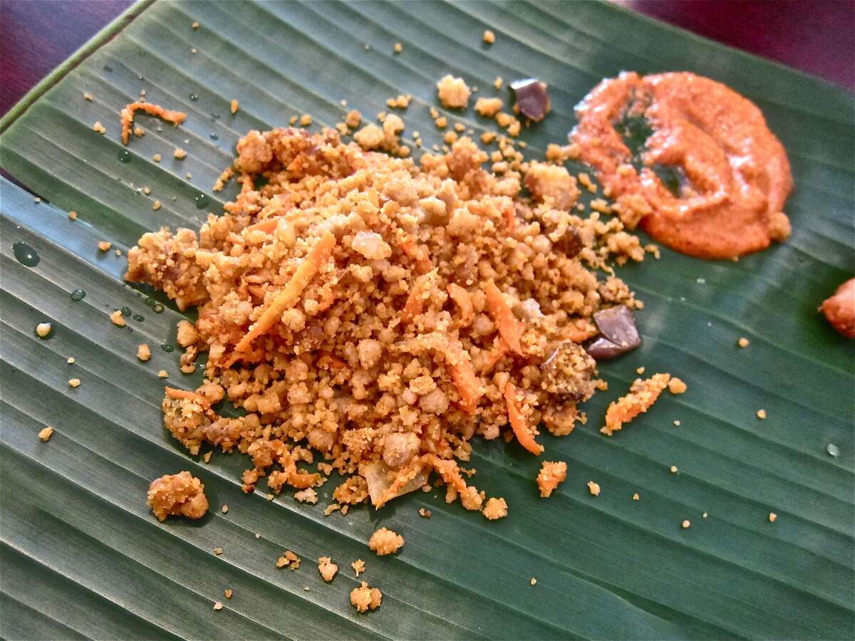 Puttu Fry with sambol sauce at Yaal Tiffins Saturday Sri Lankan banana-leaf lunch.