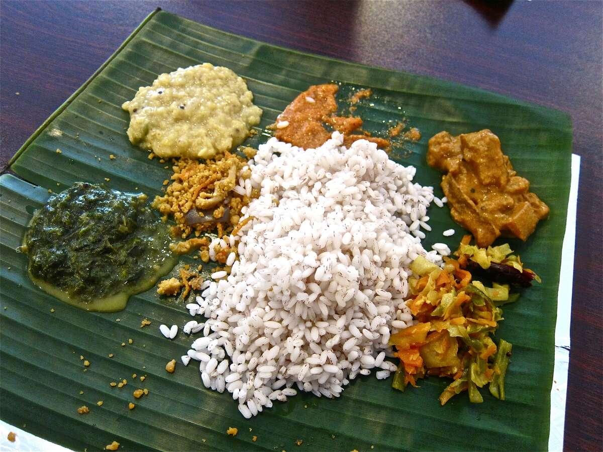Sri Lankan specialties at Yaal Tiffins Saturday Sri Lankan banana-leaf lunch.