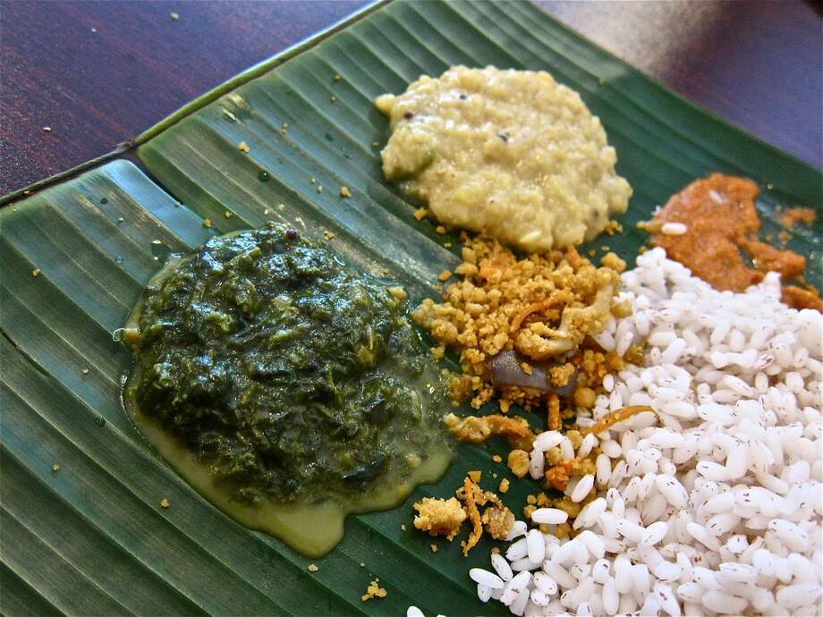 Sri-Lankan style curried greens, curried lentils, puttu fry and special rice at Yaal Tiffins.