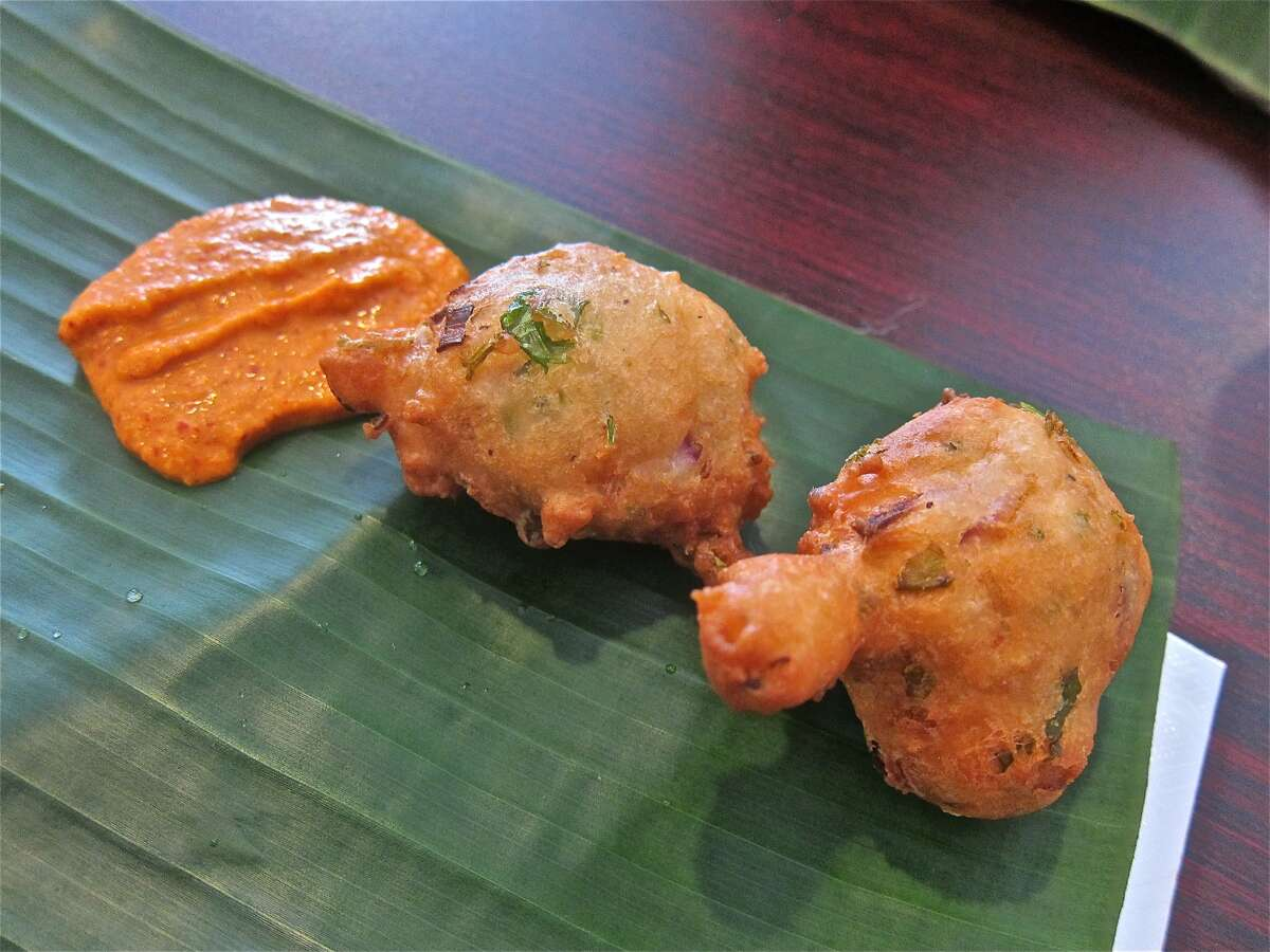Pakoras with sambol sauce at Yaal Tiffins Saturday Sri Lankan banana-leaf lunch.
