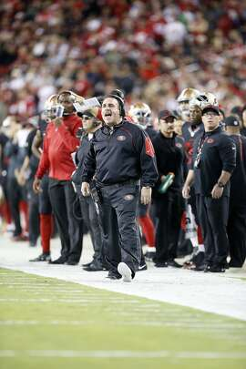 San Francisco 49ers head coach Jim Tomsula reacts on the sideline during the first half of an NFL football game against the Minnesota Vikings in Santa Clara, Calif., Monday, Sept. 14, 2015. (AP Photo/Tony Avelar)