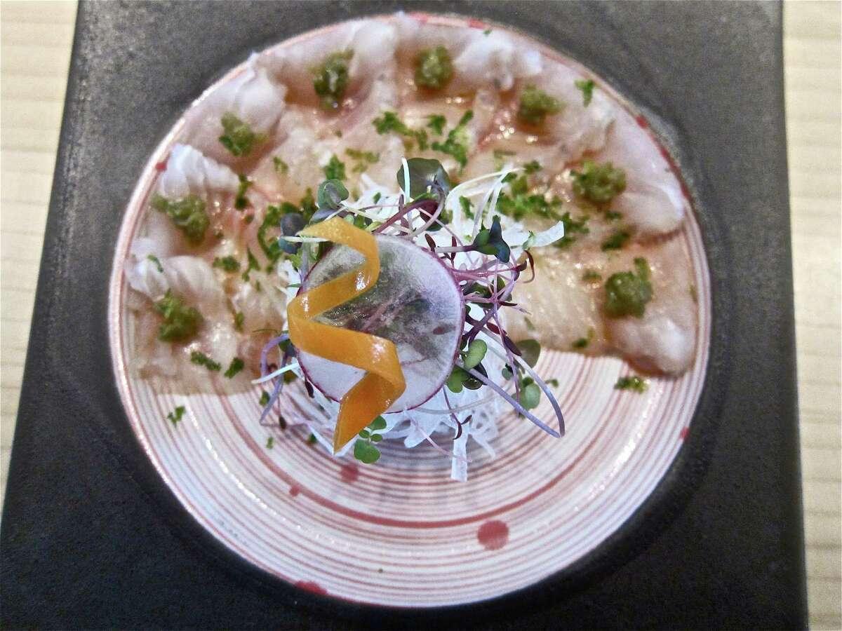 Flounder sashimi with yuzukosho at MF Sushi