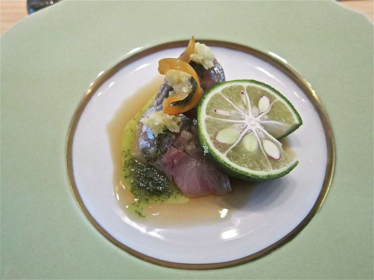MF Sushi: Shima saba (pickled mackerel) sashimi with shiso oil and homegrown yuzu
