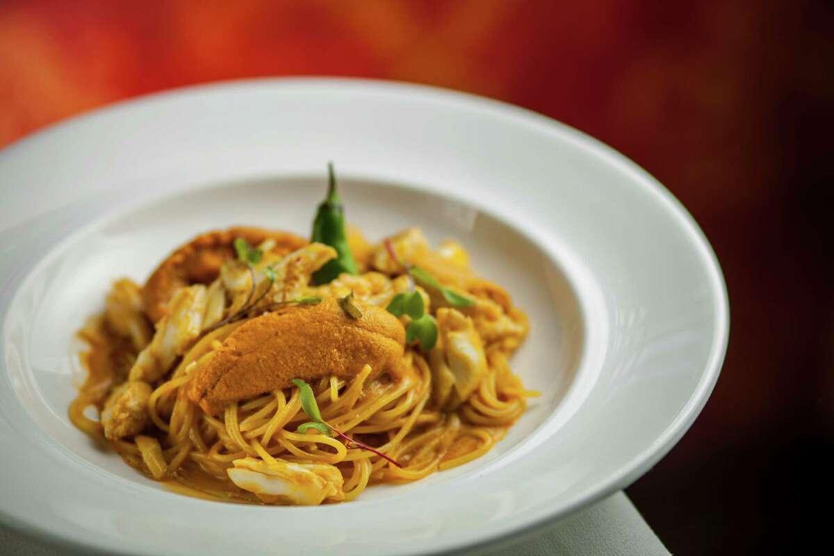 Da Marco: Spaghetti with sea urchin, crab and chiles Da Marco restaurant's spaghetti with sea urchin, crab and chiles.