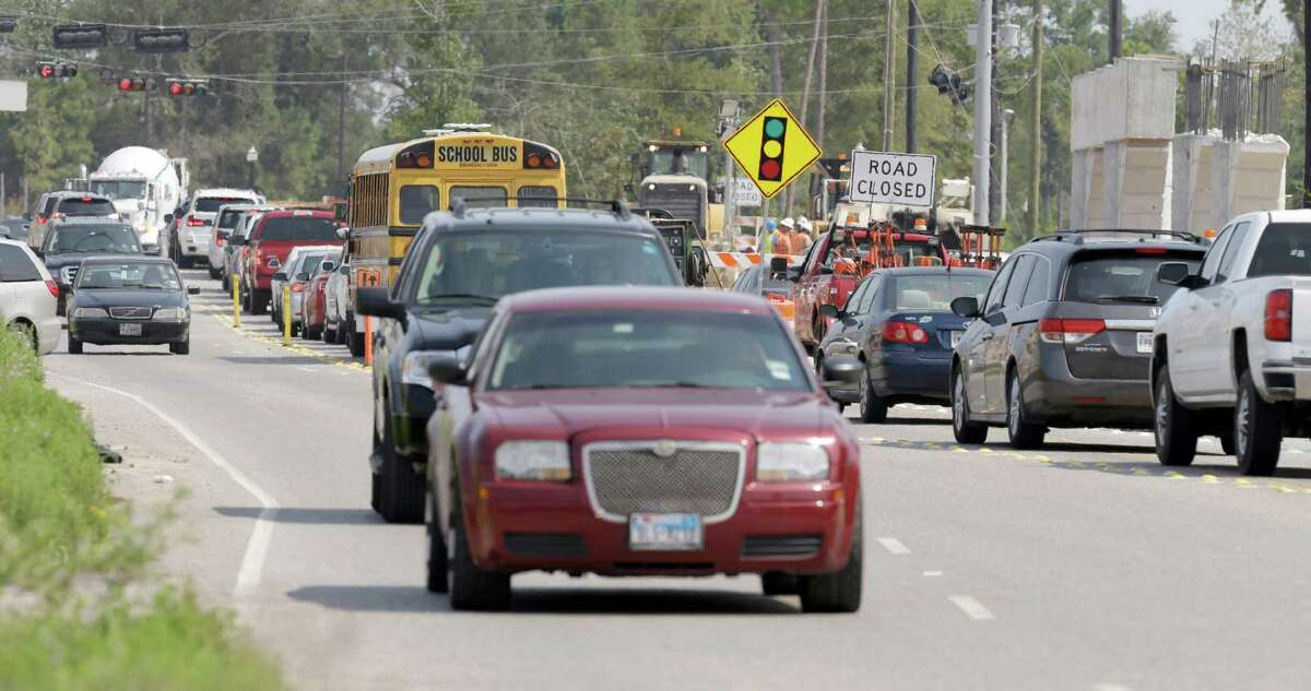 Traffic lines up along Rayford near the insection of Riley Fuzzel where the Grand Parkway is under construction shown Thursday, Aug. 27, 2015, in Spring. ( Melissa Phillip / Houston Chronicle )