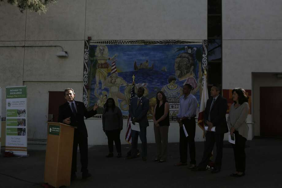 Oakland District Five Council Member Noel Gallo speaks during a press conference at Fremont High School in Oakland, Ca. on Tuesday, September 15, 2015. The Latino Men and Boys program is a new initiative to focus on Latino males in the school district. Photo: Dorothy Edwards, The Chronicle