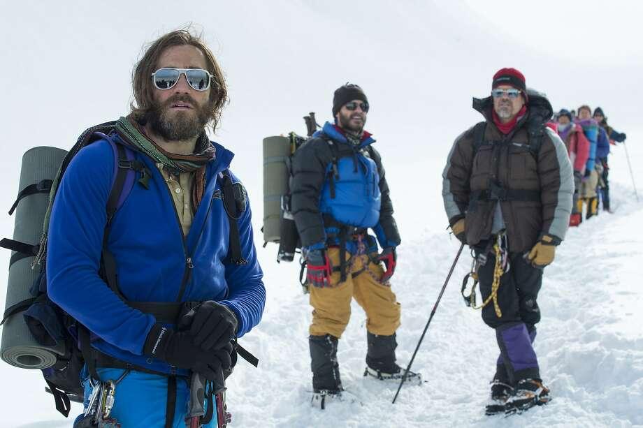 "Jake Gyllenhaal as guide Scott Fischer (left), Michael Kelly as journalist Jon Krakauer and Josh Brolin as Texas doctor Beck Weathers in ""Everest."" Photo: Jasin Boland, Associated Press"