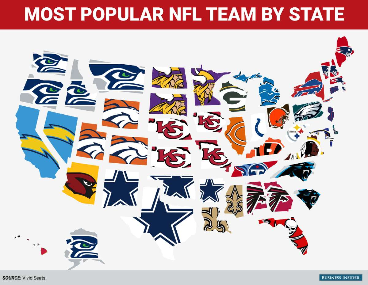 Click through to see the most popular NFL team in each state