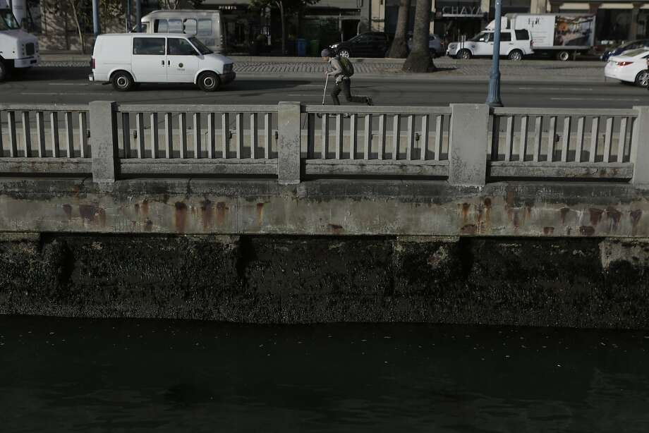 The sea wall that separates the bay from the Financial District is pictured in San Francisco, Ca. on Tuesday, September 15, 2015. Photo: Dorothy Edwards, The Chronicle