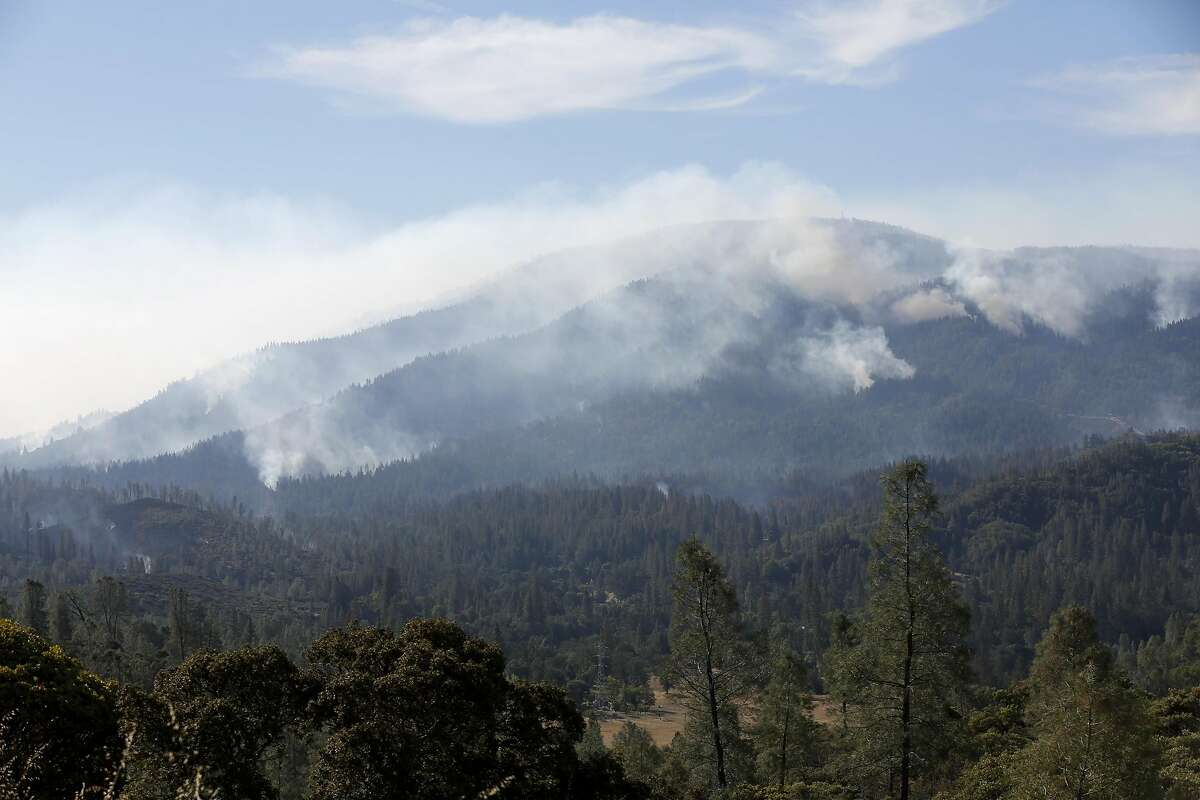 Smoke rising from the Valley Fire near Cobb, California, on Tuesday, Sept. 15, 2015.