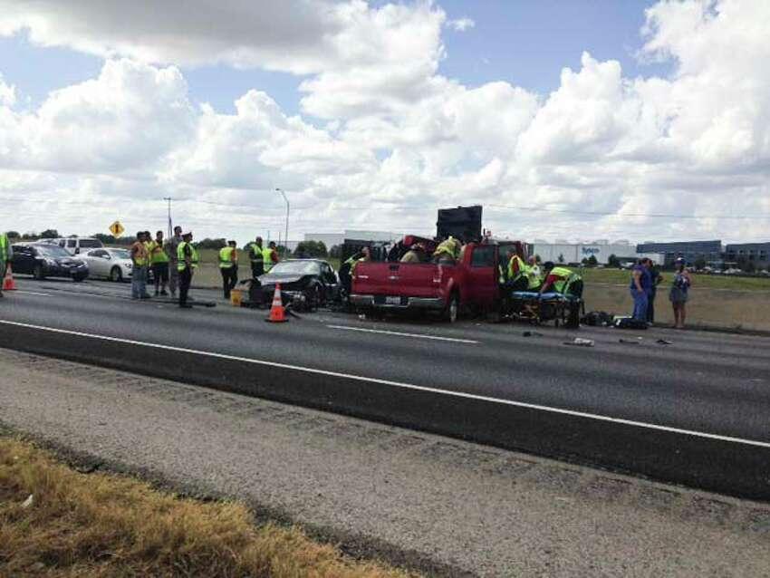 Emergency crews work a crash on Interstate 35 in Schertz near Schwab Road on Sept. 15, 2015.
