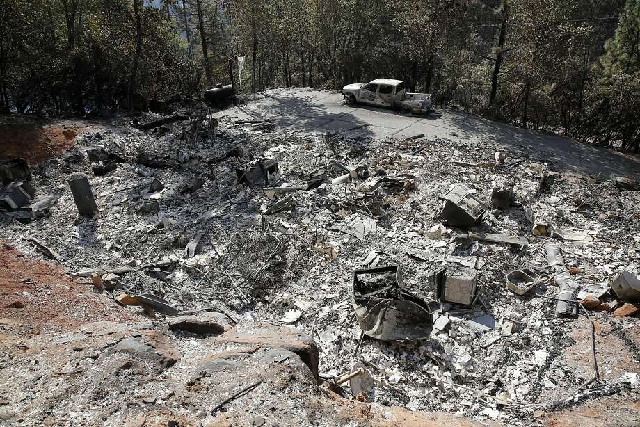 A destroyed home owned by Amber Roberts and Jesus Cabezas near Kelseyville, California, on Tuesday, Sept. 15, 2015. The couple fears their seven dogs perished in the Valley Fire. Photo: Connor Radnovich, The Chronicle