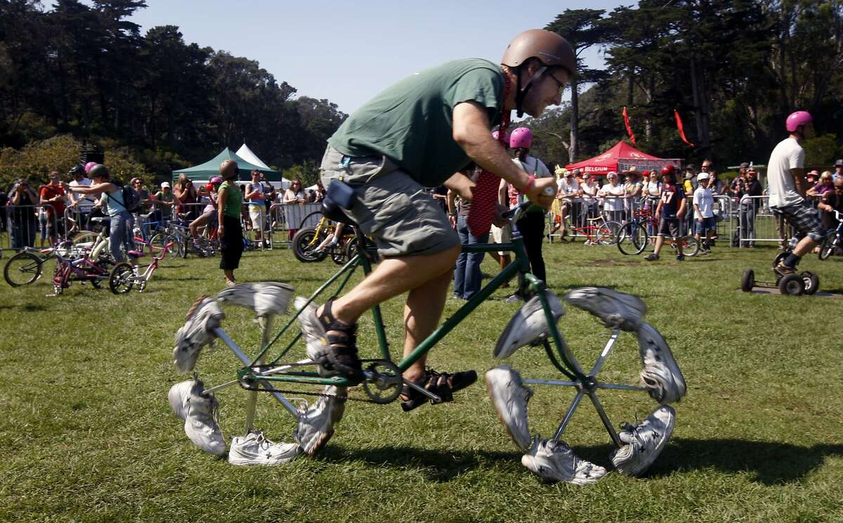 Bike to Work Day is largely about saving the environment and getting some exercise, so our pedestrian friends deserve a shoutout too. What better way that with wheels made of shoes?