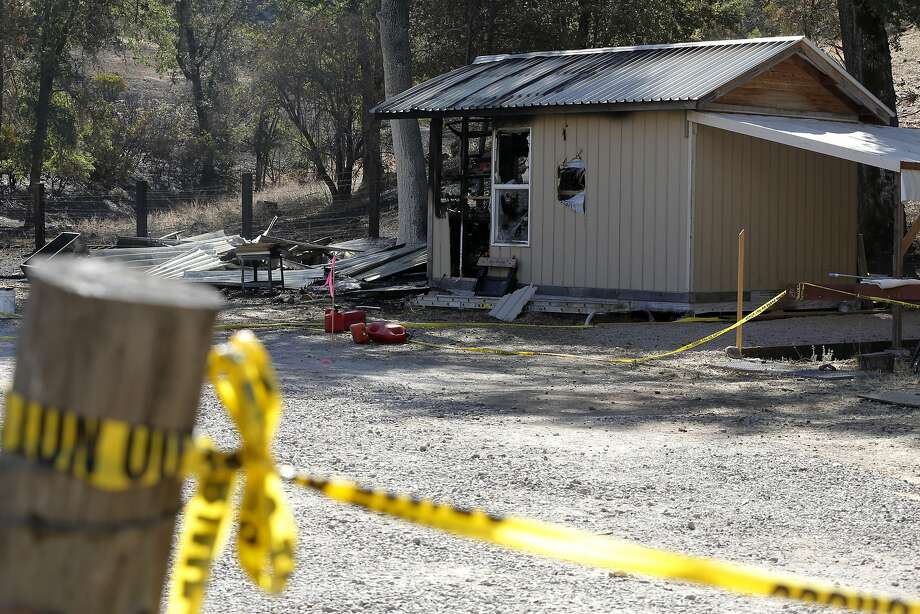 The shed where neighbors say the Valley Fire may have started now surrounded by police tape in Cobb, California, on Tuesday, Sept. 15, 2015. Photo: Connor Radnovich, The Chronicle
