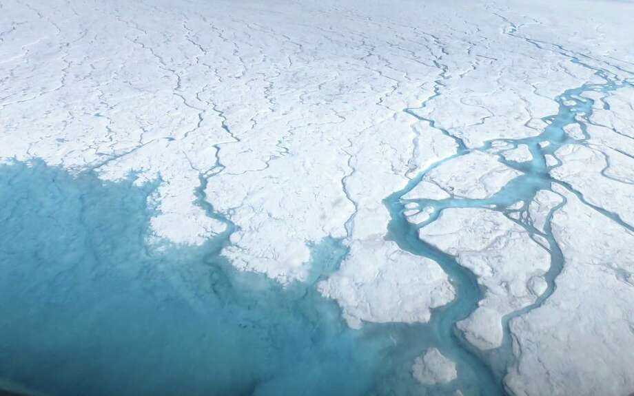 NASA caption: Streams and rivers that form on top of the Greenland ice sheet during spring and summer are the main agent transporting melt runoff from the ice sheet to the ocean. Credits: NASA's Goddard Space Flight Center/Maria-José Viñas Photo:  NASA